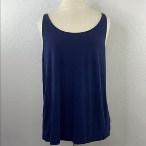 Eileen fisher navy silk tank, size extra large